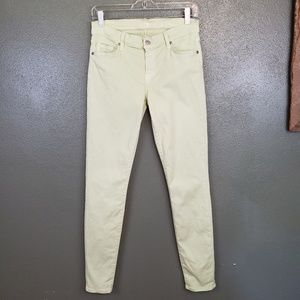 """7FAM  """"the skinny"""" pale green skinny jeans (635)"""